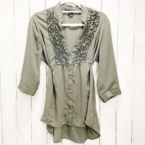 Olive Green Ruffle Front Hi/Low Blouse Love Haight